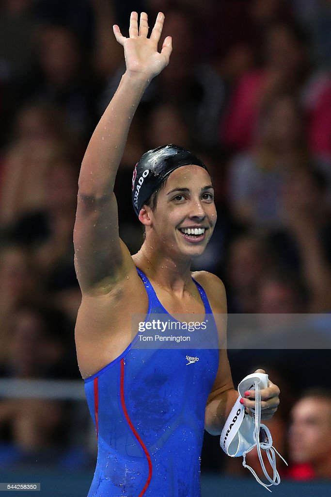 Maya DiRado of the United States celebrates after finishing first in the final heat for the Women's 200 Meter Backstroke during Day Seven of the 2016...