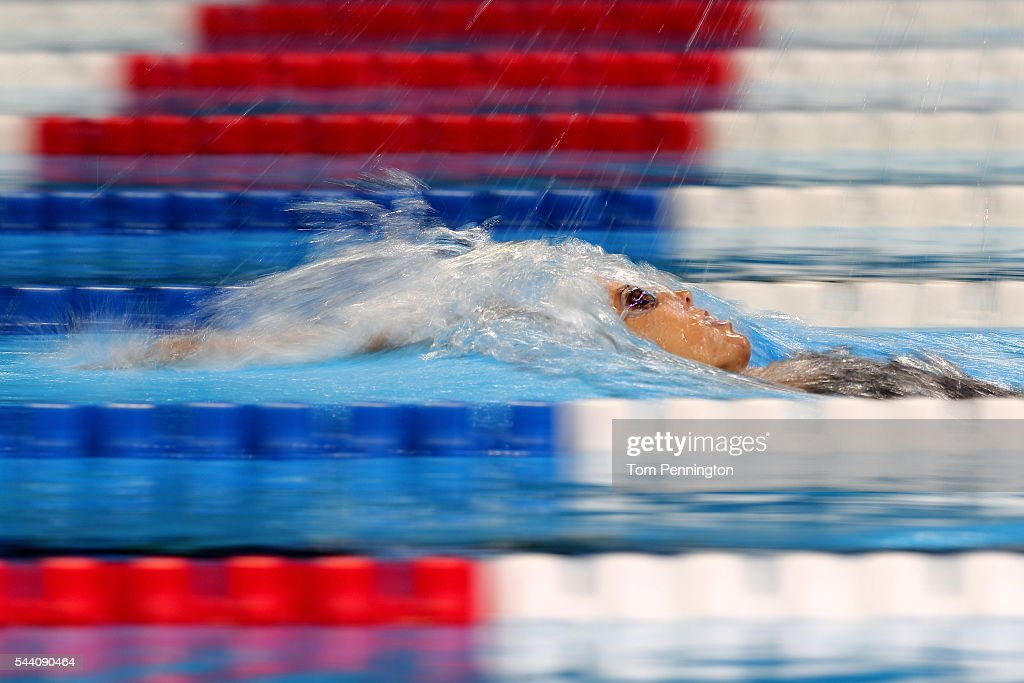 Maya DiRado of the United States competes in a heat for the Women's 200 Meter Backstroke during Day Six of the 2016 US Olympic Team Swimming Trials...