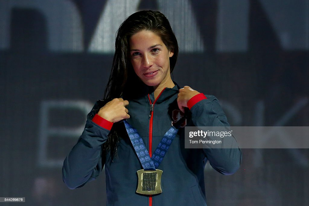 Maya DiRado of the United States participates in the medal ceremony for the Women's 200 Meter Backstroke during Day Seven of the 2016 US Olympic Team...