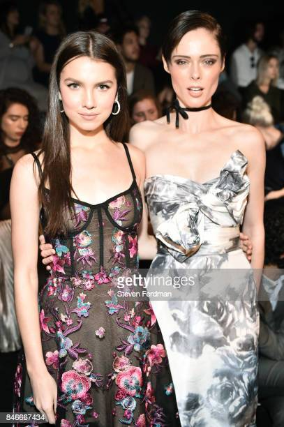 Maya Henry and Coco Rocha attend the Marchesa fashion show during New York Fashion Week at Gallery 1 Skylight Clarkson Sq on September 13 2017 in New...