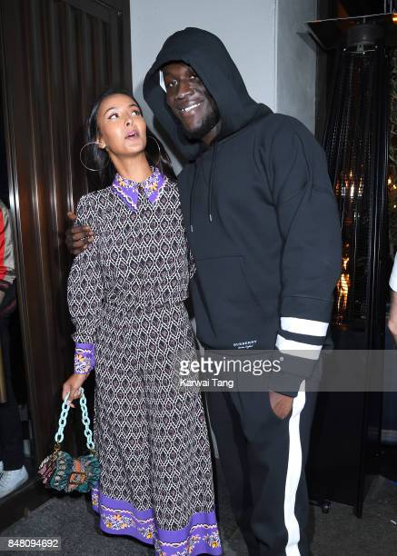 Maya Jama and Stormzy arrive for the Jourdan Dunn Misguided collection launch at The London Reign on September 16 2017 in London England