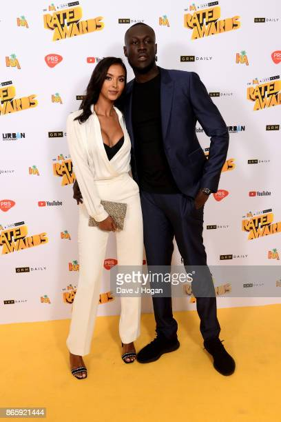 Maya Jama and Stormzy attend UK Grime and Hip Hop the KA GRM Daily RATED AWARDS at legendary music venue The Roundhouse on October 24 2017 in London...