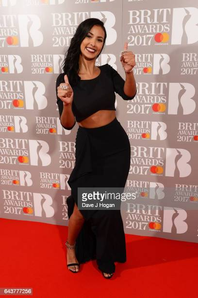 ONLY Maya Jama attends The BRIT Awards 2017 at The O2 Arena on February 22 2017 in London England