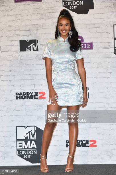 Maya Jama poses in the Winners Room during the MTV EMAs 2017 held at The SSE Arena Wembley on November 12 2017 in London England