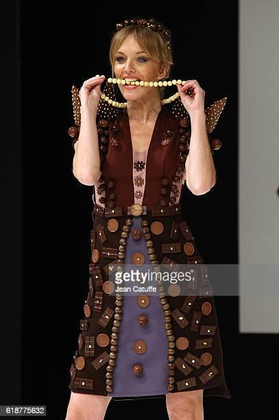 Maya Lauque walks the runway during the Chocolate Fashion Show as part of Salon du Chocolat Paris 2016 at Parc des Expositions Porte de Versailles on...
