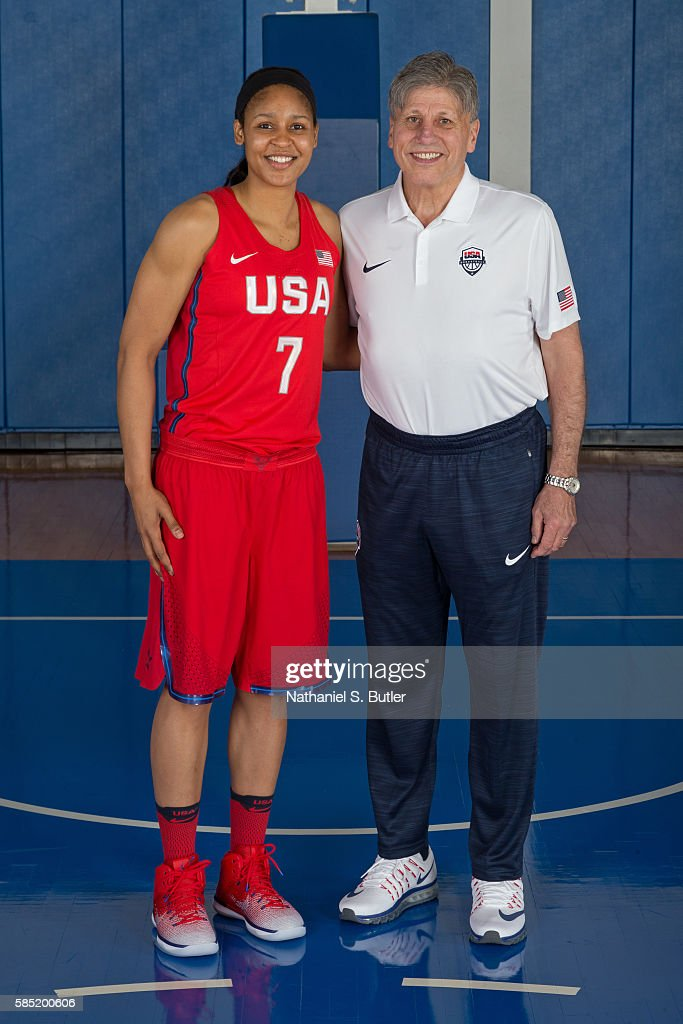 Maya Moore and Doug Bruno of the USA Basketball Women's National Team pose for a photo on July 30, 2016 at the Madison Square Garden Training Center in Tarrytown, New York.