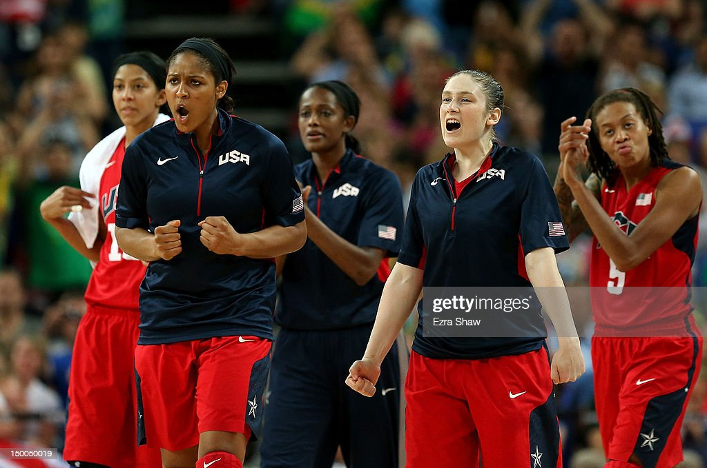 <a gi-track='captionPersonalityLinkClicked' href=/galleries/search?phrase=Maya+Moore+-+Basketball+Player&family=editorial&specificpeople=4215914 ng-click='$event.stopPropagation()'>Maya Moore</a> #7 and <a gi-track='captionPersonalityLinkClicked' href=/galleries/search?phrase=Lindsay+Whalen&family=editorial&specificpeople=208984 ng-click='$event.stopPropagation()'>Lindsay Whalen</a> #4 of United States celebrate on the bench during the Women's Basketball semifinal against Australia on Day 13 of the London 2012 Olympics Games at North Greenwich Arena on August 9, 2012 in London, England.