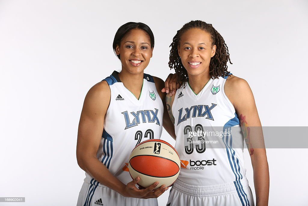 Maya Moore #32 and Seimone Augustus #33 of the Minnesota Lynx pose for portraits during 2013 Media Day on May 16, 2013 at the Minnesota Timberwolves and Lynx LifeTime Fitness Training Center at Target Center in Minneapolis, Minnesota.