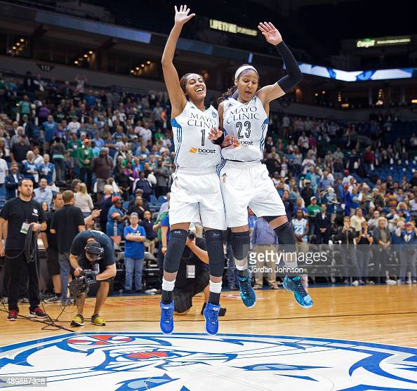 Maya Moore and Shae Kelley of the Minnesota Lynx celebrate after Game One of the WNBA Western Conference Finals against the Phoenix Mercury on...