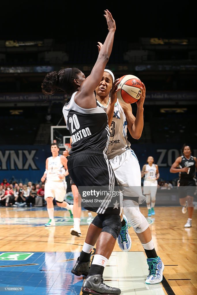 Maya Moore #23 of the Minnesota Lynx attempts to drive on Shameka Christon #20 of the San Antonio Silver Stars during the WNBA game on June 11, 2013 at Target Center in Minneapolis, Minnesota.