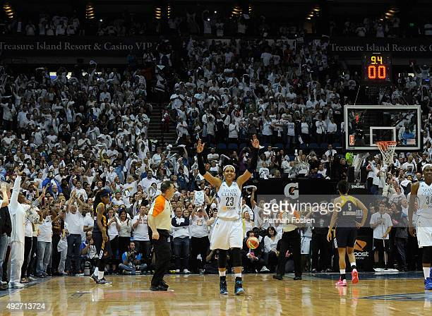 Maya Moore of the Minnesota Lynx celebrates in the final seconds of Game Five of the 2015 WNBA Finals against the Indiana Fever on October 14 2015 at...