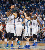 Maya Moore of the Minnesota Lynx celebrates with her team after Game One of the WNBA Western Conference Finals against the Phoenix Mercury on...