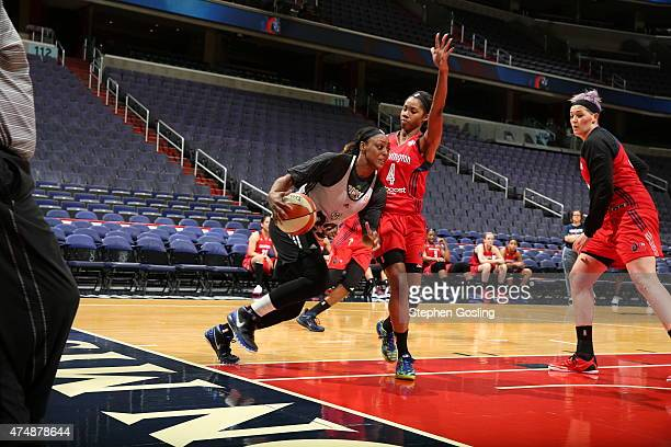 Maya Moore of the Minnesota Lynx drives against the Washington Mystics during an Analytic Scrimmage at the Verizon Center on May 26 2015 in...