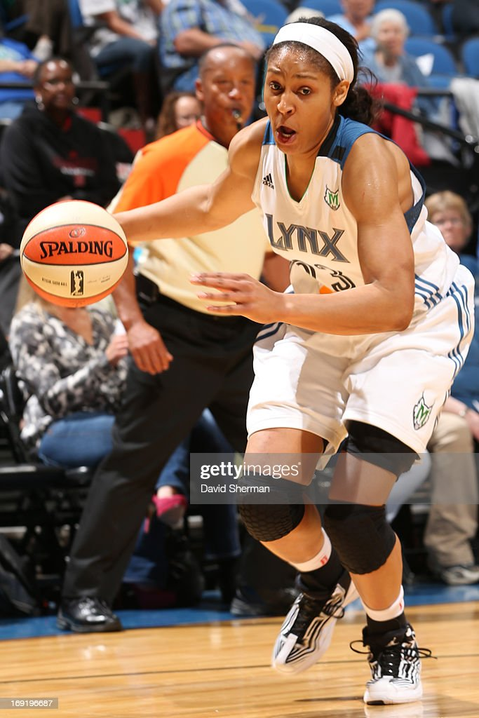 Maya Moore #23 of the Minnesota Lynx drives to the basket against the Conneticut Suns in during the WNBA pre-season game against Connecticut Sun on May 21, 2013 at Target Center in Minneapolis, Minnesota.