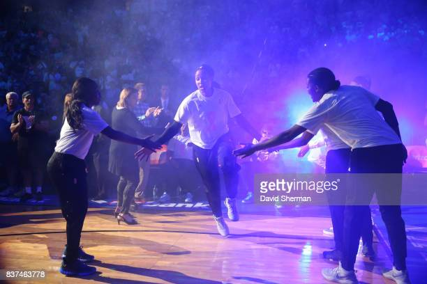 Maya Moore of the Minnesota Lynx gets introduced before the game against the Phoenix Mercury on August 22 2017 at Xcel Energy Center in St Paul...