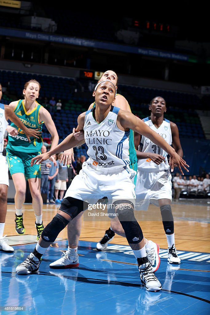 <a gi-track='captionPersonalityLinkClicked' href=/galleries/search?phrase=Maya+Moore+-+Basketball+Player&family=editorial&specificpeople=4215914 ng-click='$event.stopPropagation()'>Maya Moore</a> #23 of the Minnesota Lynx guards her position against the Australian Opals on May 5, 2014 at Target Center in Minneapolis, Minnesota.