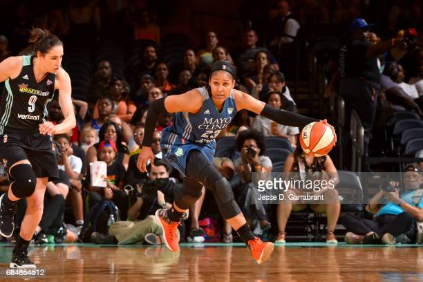 Maya Moore of the Minnesota Lynx handles the ball against the New York Liberty on May 18 2017 at Madison Square Garden in New York City New York NOTE...