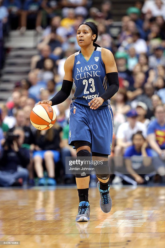Maya Moore #23 of the Minnesota Lynx handles the ball during the game against the Los Angeles Sparks during the WNBA game on June 24, 2016 at Target Center in Minneapolis, Minnesota.