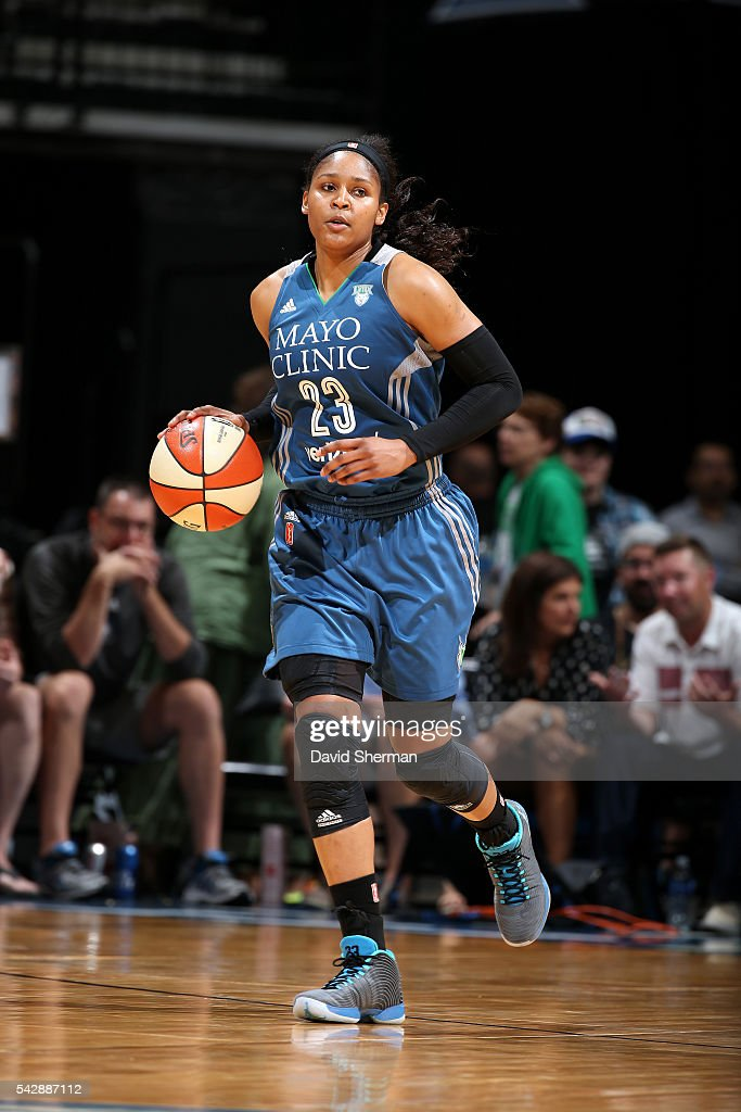 <a gi-track='captionPersonalityLinkClicked' href=/galleries/search?phrase=Maya+Moore+-+Basketball+Player&family=editorial&specificpeople=4215914 ng-click='$event.stopPropagation()'>Maya Moore</a> #23 of the Minnesota Lynx handles the ball during the game against the Los Angeles Sparks during the WNBA game on June 24, 2016 at Target Center in Minneapolis, Minnesota.