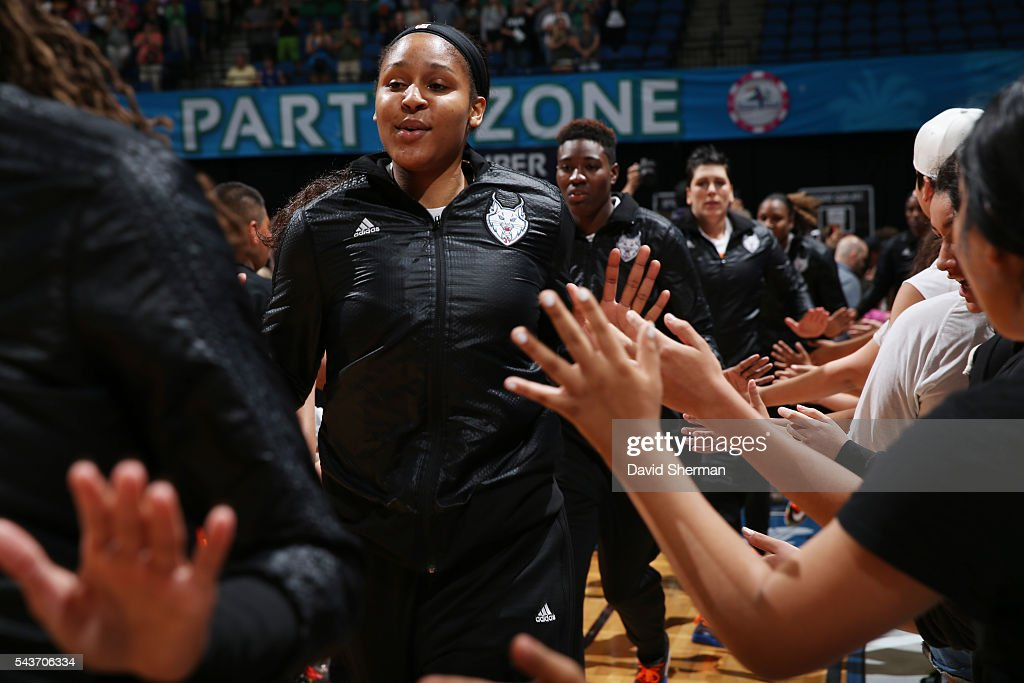 <a gi-track='captionPersonalityLinkClicked' href=/galleries/search?phrase=Maya+Moore+-+Basketball+Player&family=editorial&specificpeople=4215914 ng-click='$event.stopPropagation()'>Maya Moore</a> #23 of the Minnesota Lynx is introduced before the game against the New York Liberty on June 29, 2016 at Target Center in Minneapolis, Minnesota.