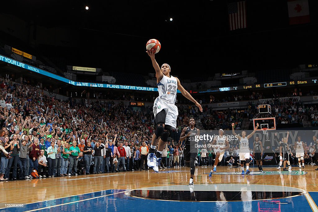 <a gi-track='captionPersonalityLinkClicked' href=/galleries/search?phrase=Maya+Moore&family=editorial&specificpeople=4215914 ng-click='$event.stopPropagation()'>Maya Moore</a> #23 of the Minnesota Lynx on the break away in the final moments of the game against the San Antonio Silver Stars in Game One of the Western Conference Semifinals during the 2011 WNBA Playoffs on September 16, 2011 at Target Center in Minneapolis, Minnesota.