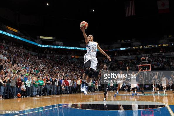 Maya Moore of the Minnesota Lynx on the break away in the final moments of the game against the San Antonio Silver Stars in Game One of the Western...