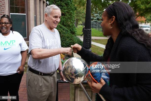 Maya Moore of the Minnesota Lynx shakes hands with Mark Dayton govenor of Minnesota during the visit the Minnesota Governor's Residence on October 6...