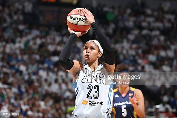 Maya Moore of the Minnesota Lynx shoots a free throw against the Indiana Fever during Game Five of the 2015 WNBA Finals on October 14 2015 at Target...