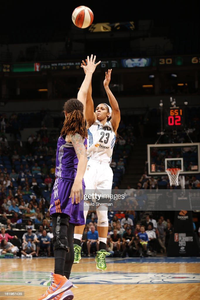 <a gi-track='captionPersonalityLinkClicked' href=/galleries/search?phrase=Maya+Moore&family=editorial&specificpeople=4215914 ng-click='$event.stopPropagation()'>Maya Moore</a> #23 of the Minnesota Lynx shoots against <a gi-track='captionPersonalityLinkClicked' href=/galleries/search?phrase=Brittney+Griner&family=editorial&specificpeople=6836945 ng-click='$event.stopPropagation()'>Brittney Griner</a> #42 of the Phoenix Mercury during the WNBA Western Conference Finals Game 1 on September 26, 2013 at Target Center in Minneapolis, Minnesota.