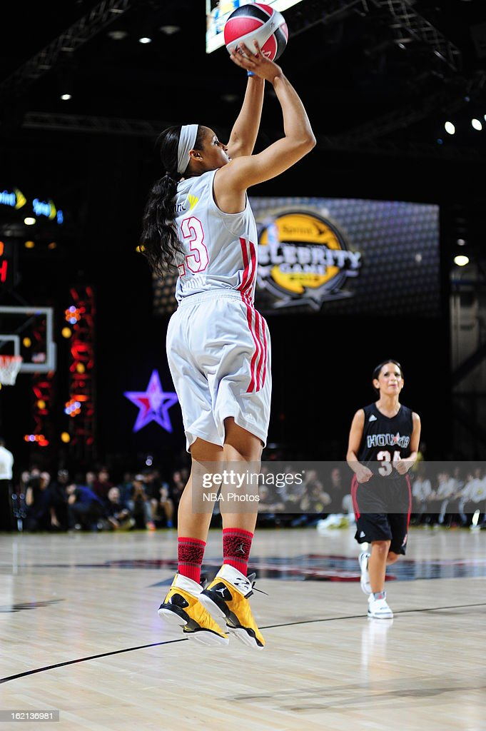 <a gi-track='captionPersonalityLinkClicked' href=/galleries/search?phrase=Maya+Moore&family=editorial&specificpeople=4215914 ng-click='$event.stopPropagation()'>Maya Moore</a> #23 of the Minnesota Lynx shoots during the Sprint NBA All-Star Celebrity Game in Sprint Arena at Jam Session during the NBA All-Star Weekend on February 15, 2013 at the George R. Brown Convention Center in Houston, Texas.