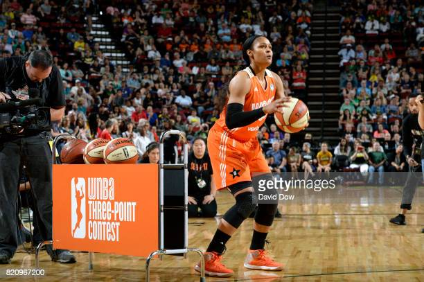 Maya Moore of the Minnesota Lynx shoots during the threepoint contest as part of the 2017 WNBA AllStar Game on July 22 2017 at Key Arena in Seattle...
