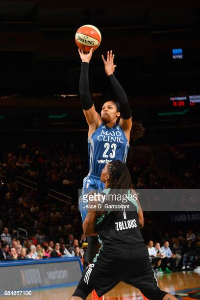 Maya Moore of the Minnesota Lynx shoots the ball against the New York Liberty on May 18 2017 at Madison Square Garden in New York City New York NOTE...