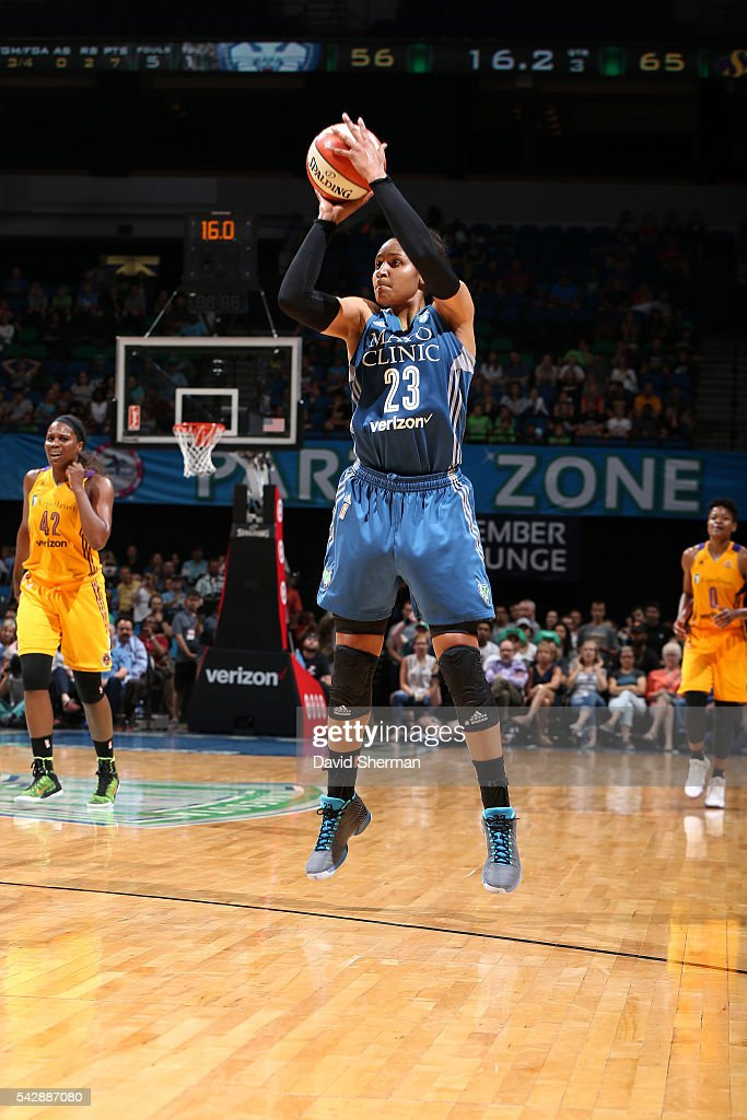 <a gi-track='captionPersonalityLinkClicked' href=/galleries/search?phrase=Maya+Moore+-+Basketball+Player&family=editorial&specificpeople=4215914 ng-click='$event.stopPropagation()'>Maya Moore</a> #23 of the Minnesota Lynx shoots the ball during the game against the Los Angeles Sparks during the WNBA game on June 24, 2016 at Target Center in Minneapolis, Minnesota.