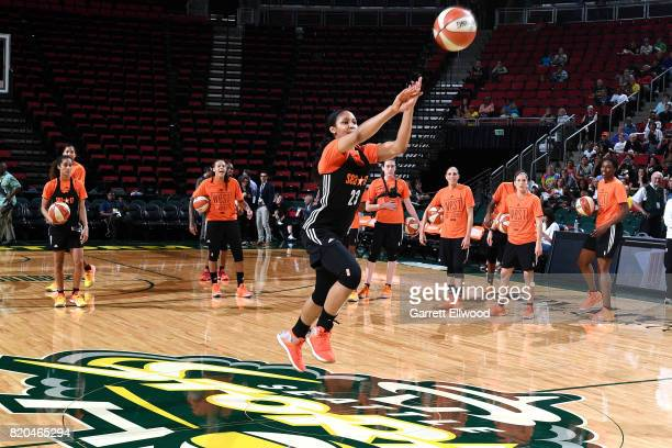 Maya Moore of the Minnesota Lynx shoots the ball during the Western Conference practice during the 2017 WNBA AllStar practice and media availability...