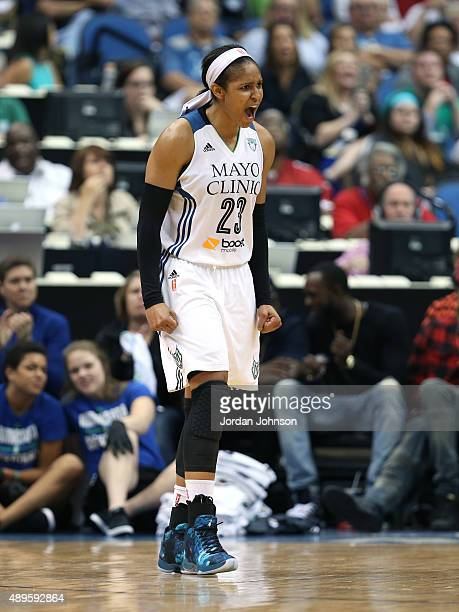 Maya Moore of the Minnesota Lynx shows emotion during the game against the Los Angeles Sparks during Game 3 of the 2015 WNBA Western Conference...