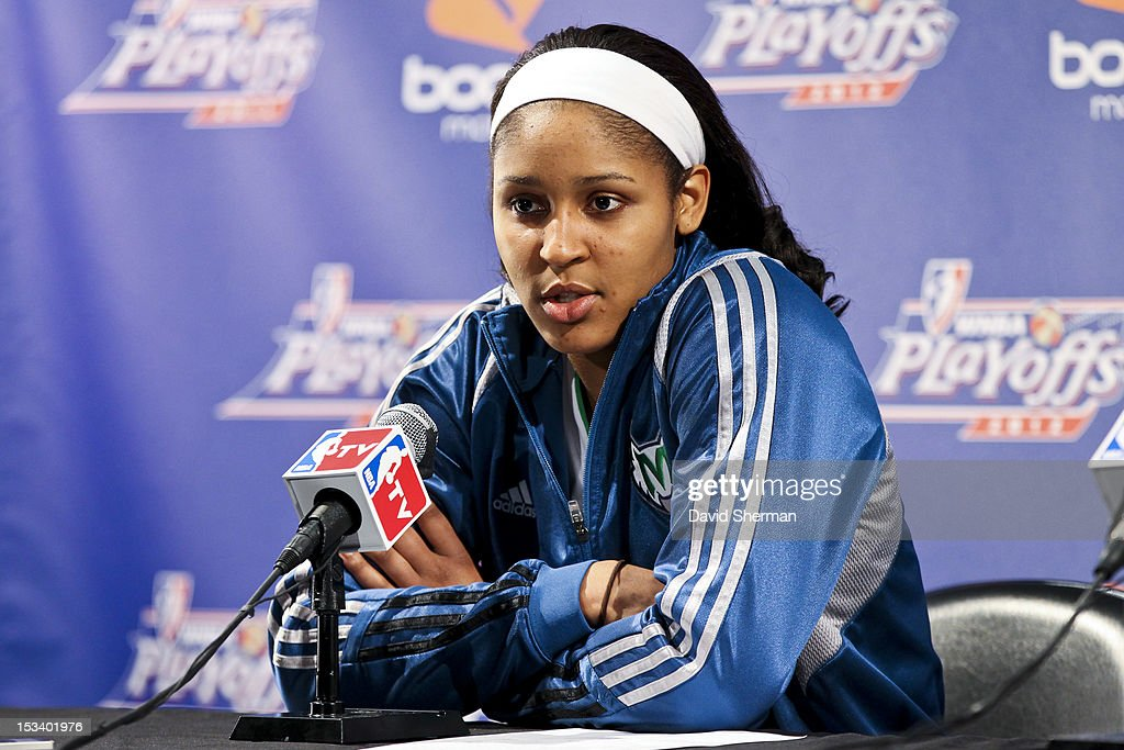 Maya Moore #23 of the Minnesota Lynx speaks to the media after Game One of the 2012 WNBA Western Conference Finals against the Los Angeles Sparks on October 4, 2012 at Target Center in Minneapolis, Minnesota.