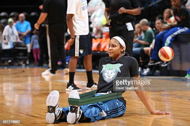 Maya Moore of the Minnesota Lynx warms up before the game against the New York Liberty on May 24 2014 at Target Center in Minneapolis Minnesota NOTE...