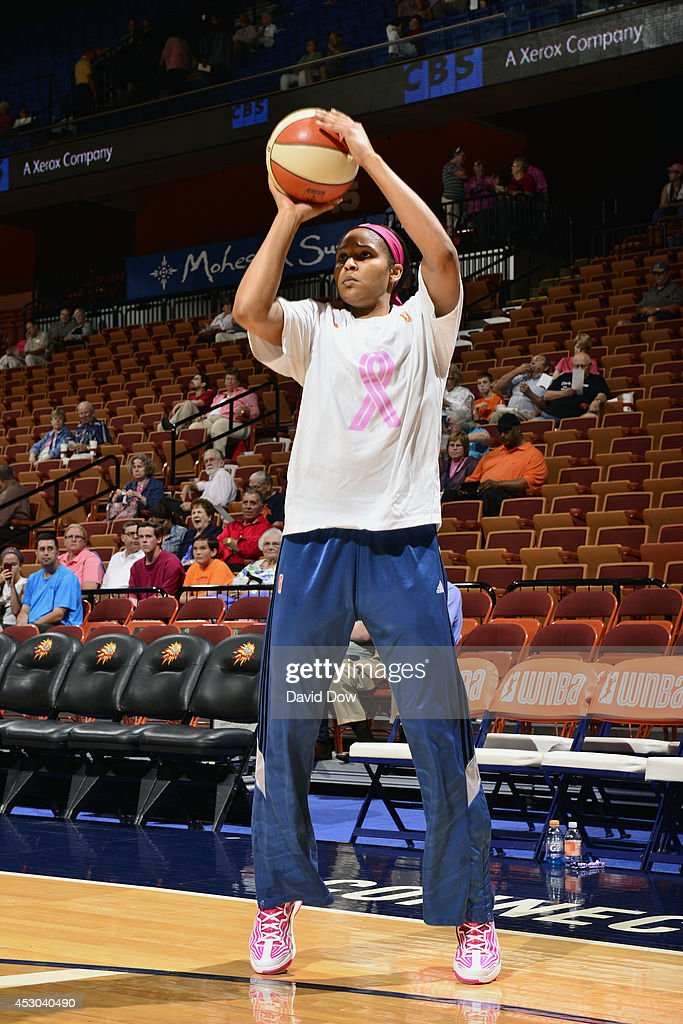 <a gi-track='captionPersonalityLinkClicked' href=/galleries/search?phrase=Maya+Moore&family=editorial&specificpeople=4215914 ng-click='$event.stopPropagation()'>Maya Moore</a> #23 of the Minnesota Lynx warms up before the game against the Connecticut Sun on July 27, 2014 at the Mohegan Sun Arena in Uncasville, Connecticut.