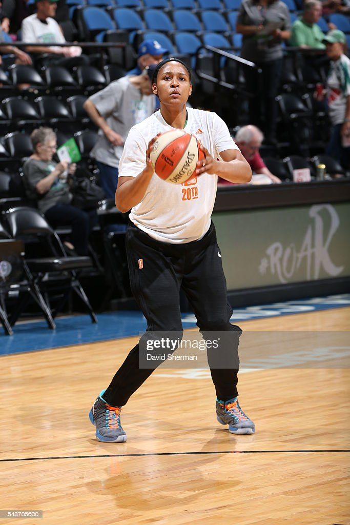 <a gi-track='captionPersonalityLinkClicked' href=/galleries/search?phrase=Maya+Moore+-+Basketball+Player&family=editorial&specificpeople=4215914 ng-click='$event.stopPropagation()'>Maya Moore</a> #23 of the Minnesota Lynx warms up before the game against the New York Liberty on June 29, 2016 at Target Center in Minneapolis, Minnesota.