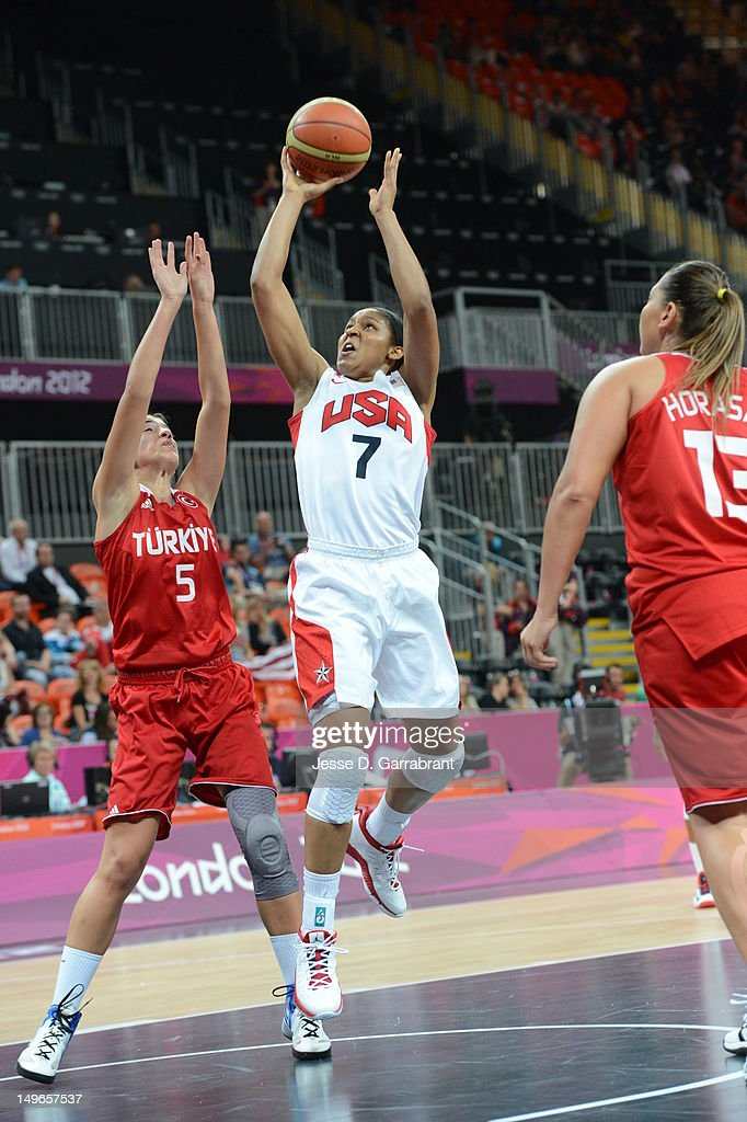<a gi-track='captionPersonalityLinkClicked' href=/galleries/search?phrase=Maya+Moore&family=editorial&specificpeople=4215914 ng-click='$event.stopPropagation()'>Maya Moore</a> #7 of the United States shoots against Turkey during their Basketball Game on Day 5 of the London 2012 Olympic Games at the Olympic Park Basketball Arena on August 1, 2012 in London, England.