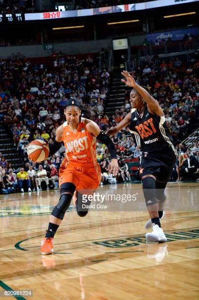 Maya Moore of the Western Conference All Stars handles the ball against the Eastern Conference All Stars during the 2017 WNBA AllStar Game on July 22...