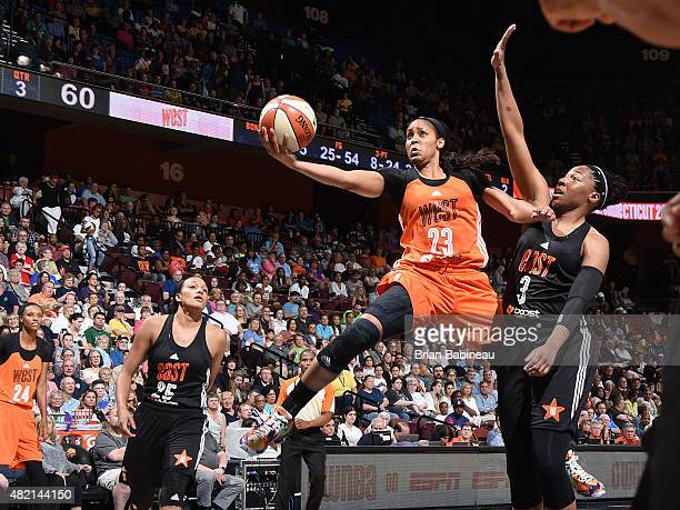 Maya Moore of the Western Conference All Stars shoots against the Eastern Conference All Stars during the Boost Mobile WNBA AllStar 2015 Game at the...