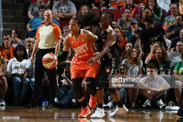 Maya Moore of the Western Conference AllStars controls the ball against the Eastern Conference AllStars as part of the Verizon WNBA AllStar Game 2017...