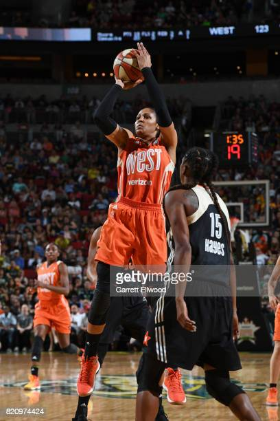 Maya Moore of the Western Conference AllStars shoots the ball against the Eastern Conference AllStars as part of the Verizon WNBA AllStar Game 2017...