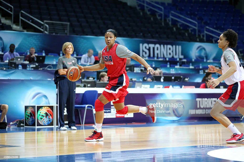 <a gi-track='captionPersonalityLinkClicked' href=/galleries/search?phrase=Maya+Moore&family=editorial&specificpeople=4215914 ng-click='$event.stopPropagation()'>Maya Moore</a> #7 of the Women's Senior U.S. National Team drives during a team practice before the semifinals of the 2014 FIBA World Championships on October 4, 2014 in Istanbul, Turkey.