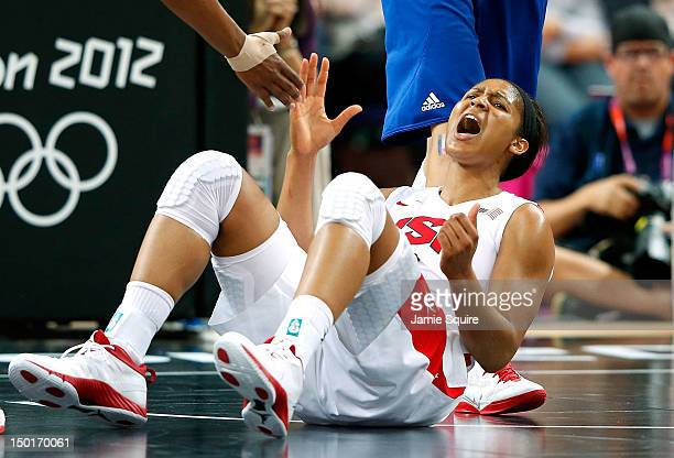 Maya Moore of United States reacts after being fouled in the second half against France during the Women's Basketball Gold Medal game on Day 15 of...