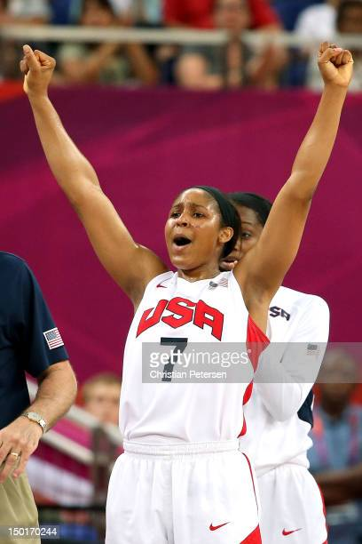 Maya Moore of United States reacts late in the fourth quarter while taking on France during the Women's Basketball Gold Medal game on Day 15 of the...