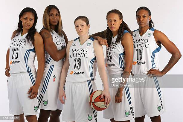 Maya Moore Rebekkah Brunson Lindsay Whalen Seimone Augustus and Asjha Jones of the Minnesota Lynx pose for a portrait during 2015 Media Day on May 28...