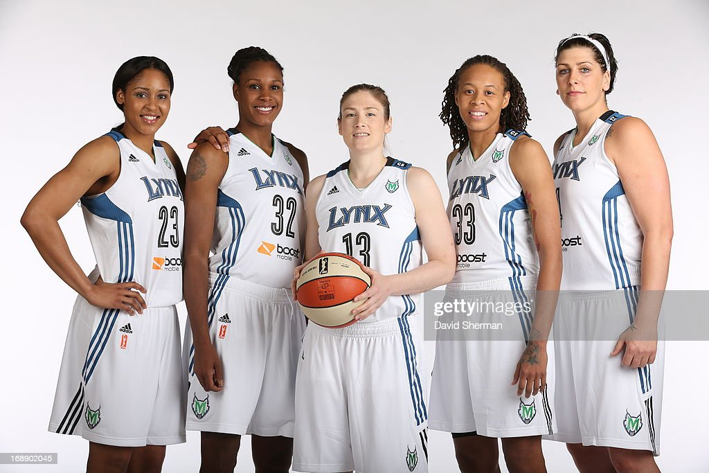 Maya Moore #23, Rebekkah Brunson #32, Lindsay Whalen #13, Seimone Augustus #33 and Janel McCarville #4 pose for portraits during 2013 Media Day on May 16, 2013 at the Minnesota Timberwolves and Lynx LifeTime Fitness Training Center at Target Center in Minneapolis, Minnesota.