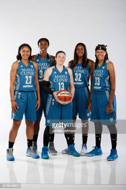 Maya Moore Sylvia Fowles Lindsay Whalen Rebekkah Brunson and Seimone Augustus of the Minnesota Lynx pose for portraits during 2017 Media Day on May 1...